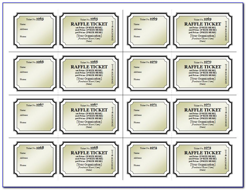 Free Raffle Ticket Templates 8 Per Page