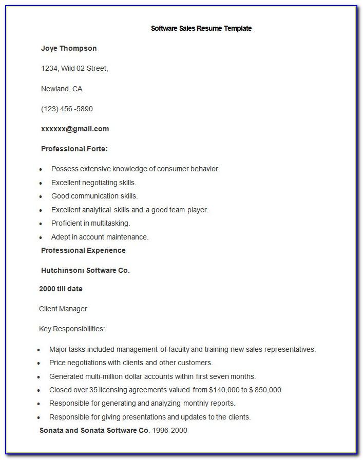 Free Sales Resume Templates Microsoft Word