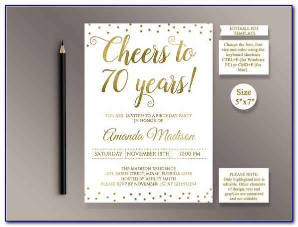 Free Surprise 70th Birthday Invitations Templates