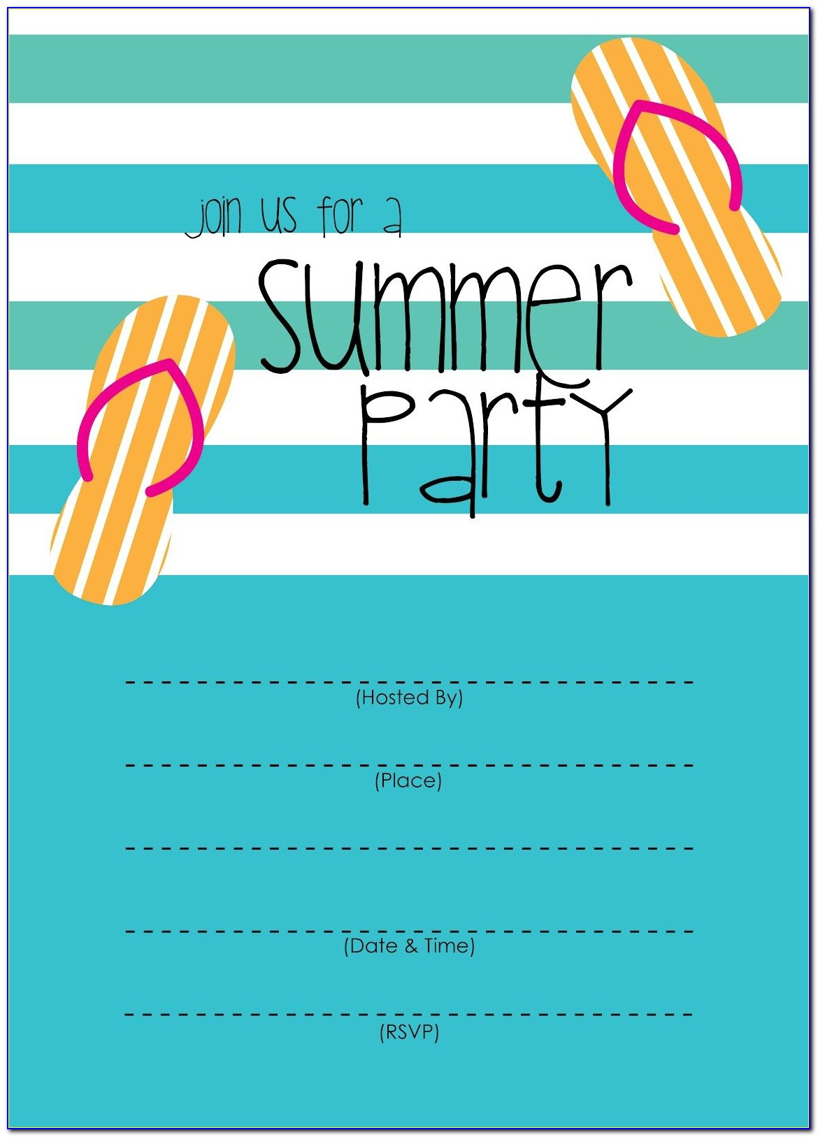 Free Template Birthday Party Invitation