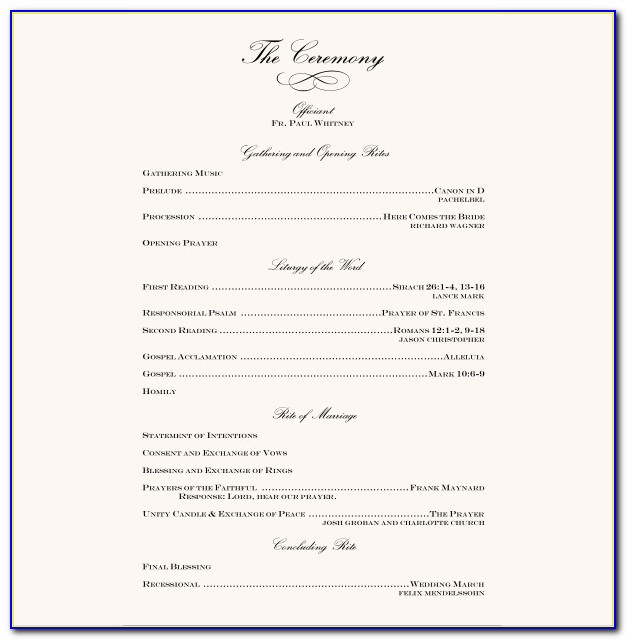 Free Template For Wedding Reception Program