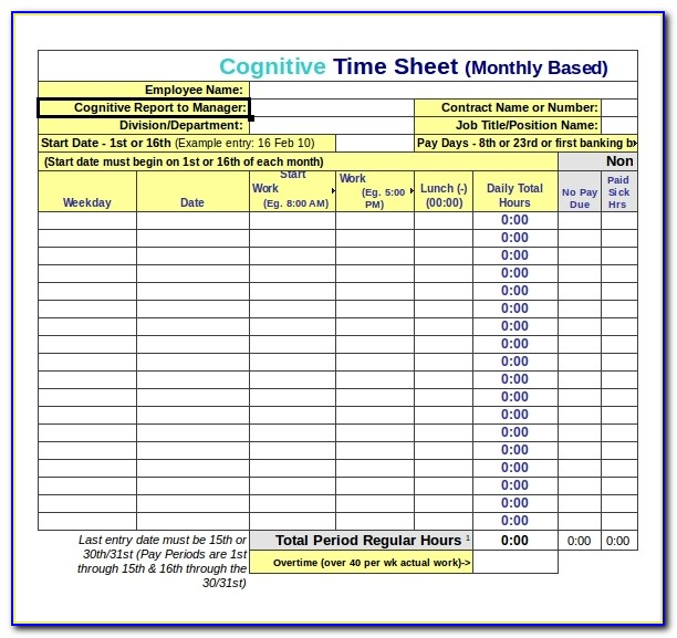 Free Timesheet Template For Mac