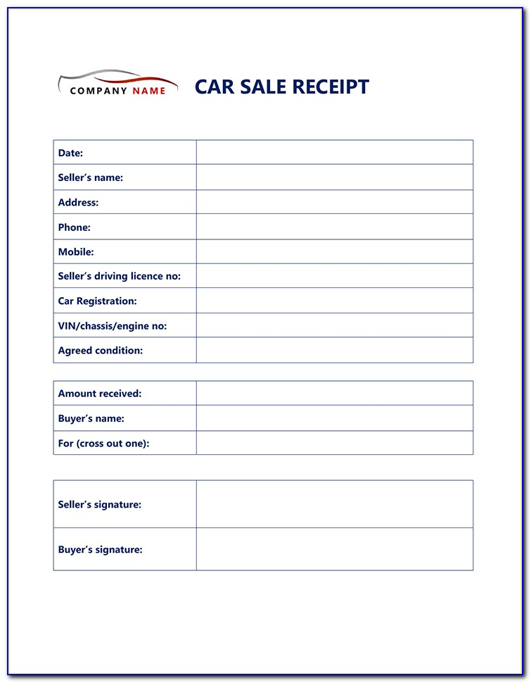 Free Used Car Sales Receipt Template