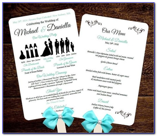 Free Wedding Program Fan Templates For Microsoft Word