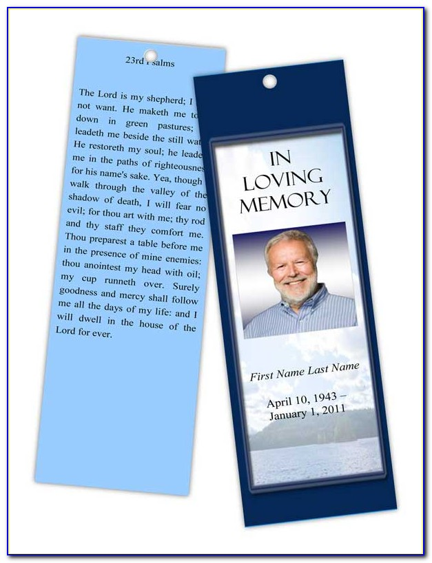 Funeral Bookmark Template Free