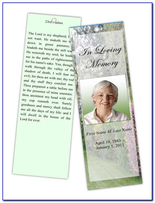 Funeral Bookmark Template Photoshop