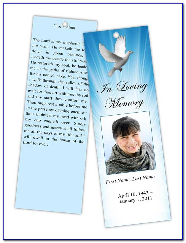 Funeral Bookmark Template Word