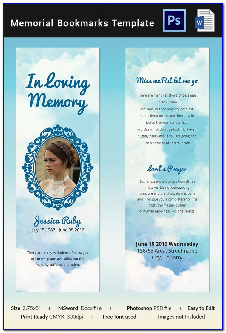 Funeral Program Bookmark Template