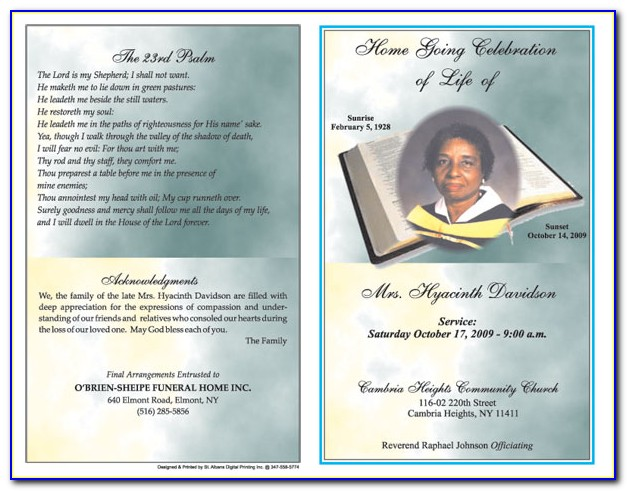 Funeral Program Template Word Download Free
