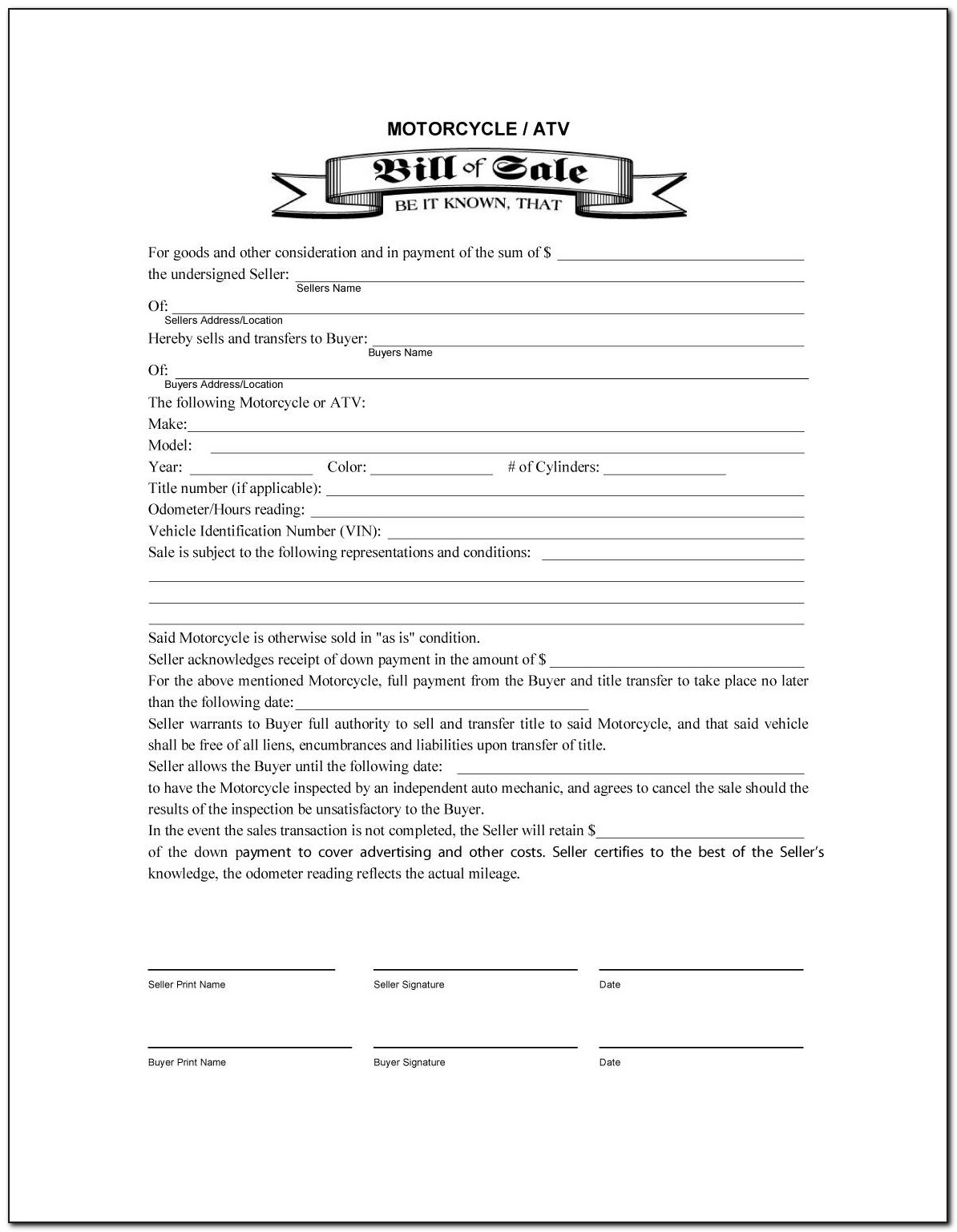 Ga Vehicle Bill Of Sale Template Fillable Pdf
