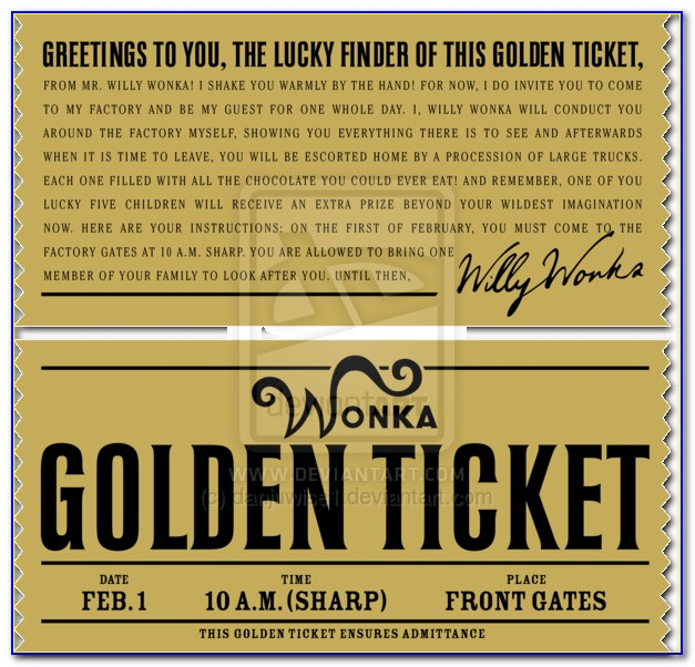 Golden Ticket Template Pdf