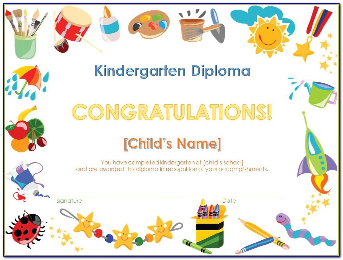 Graduation Certificate Template For Preschool