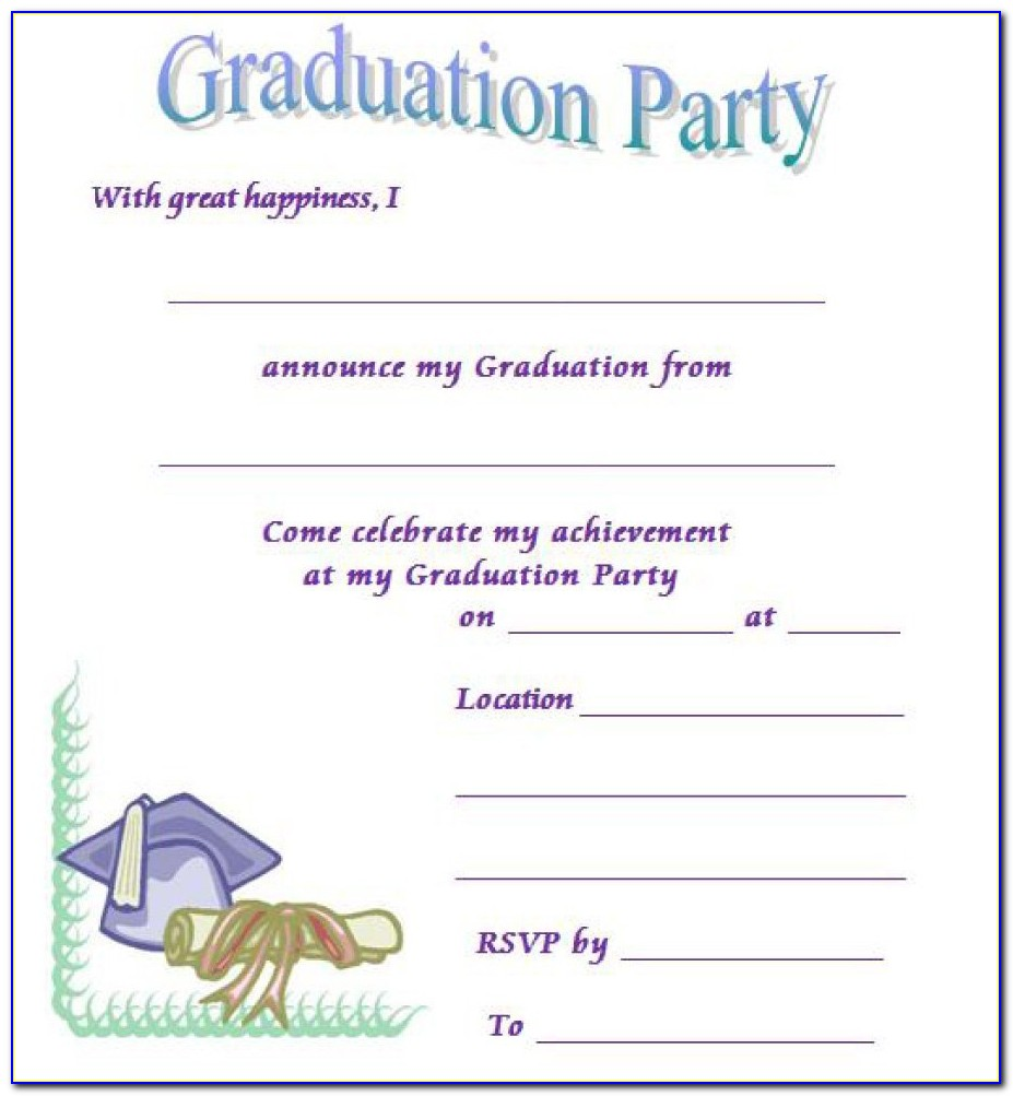 Graduation Party Invitation Template 4 Per Page