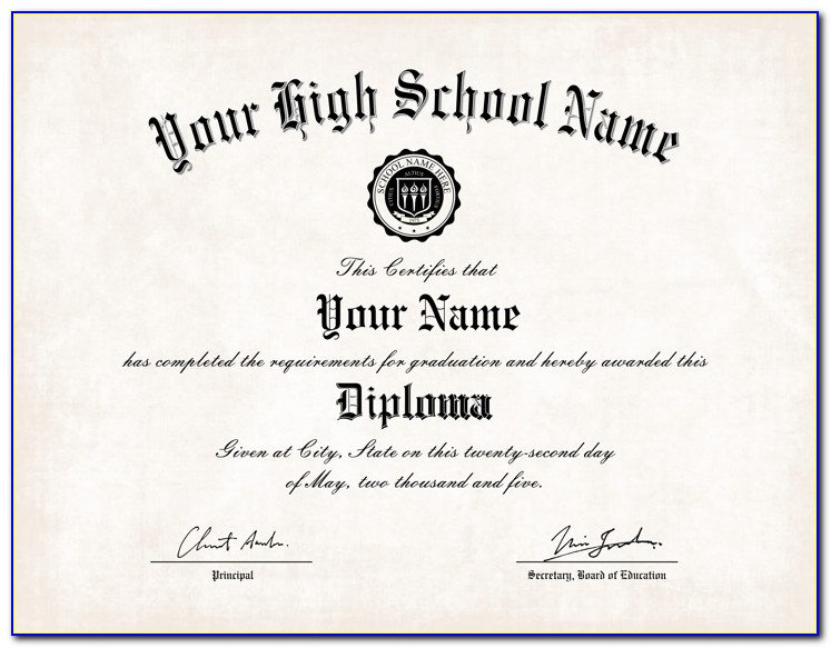 High School Diploma Template Editable