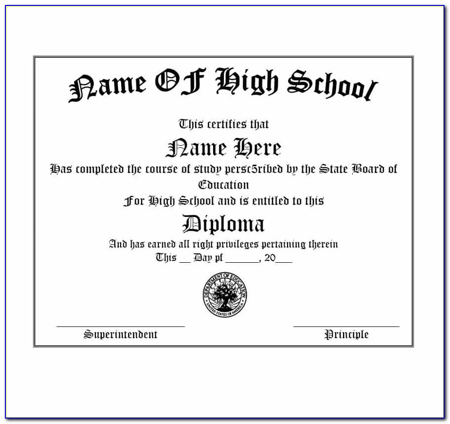 High School Diploma Template For Homeschooling