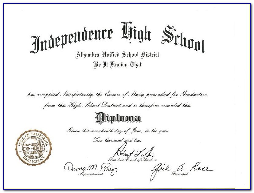 High School Diploma Template Printable