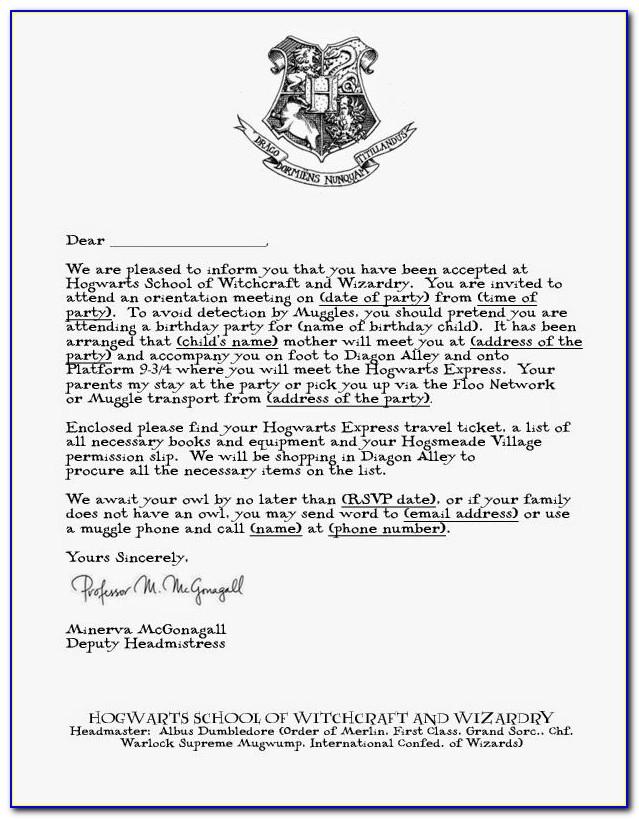Hogwarts Acceptance Letter Template Doc