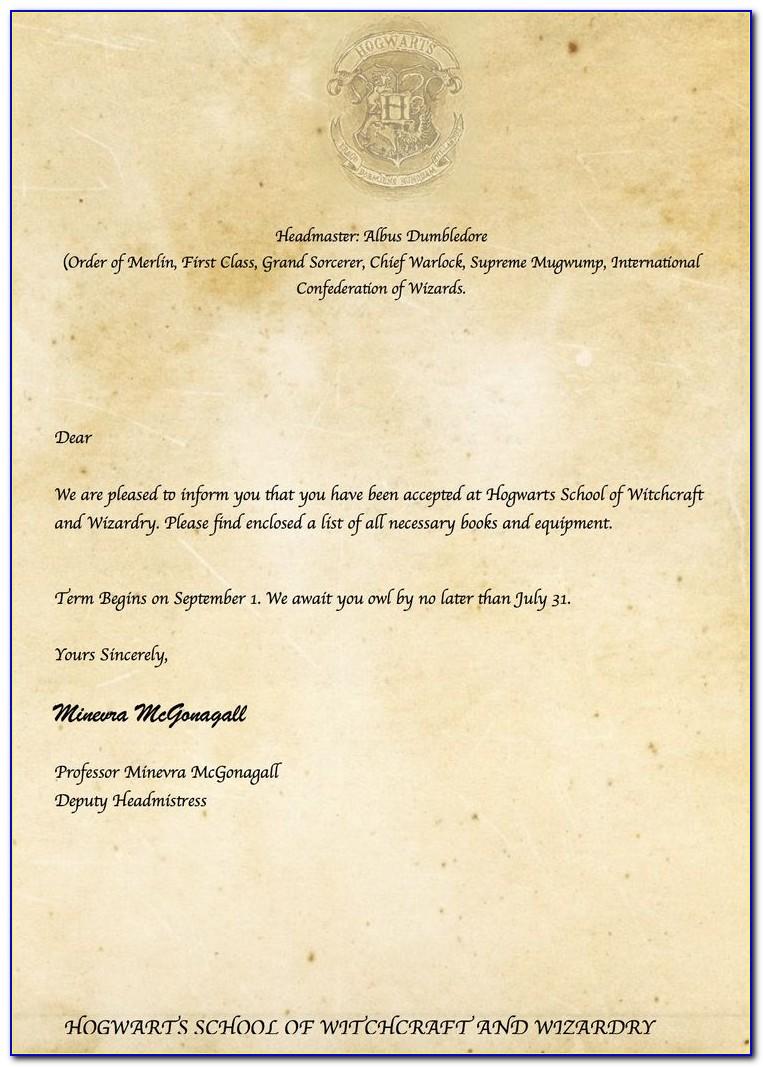 Hogwarts Acceptance Letter Template Free