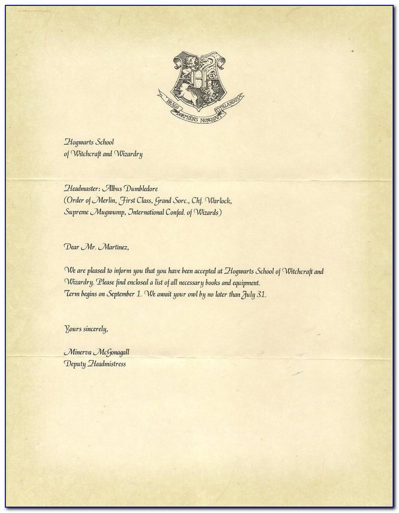 Hogwarts Acceptance Letter Template Pdf