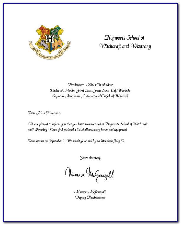 Hogwarts Acceptance Letter Template Printable