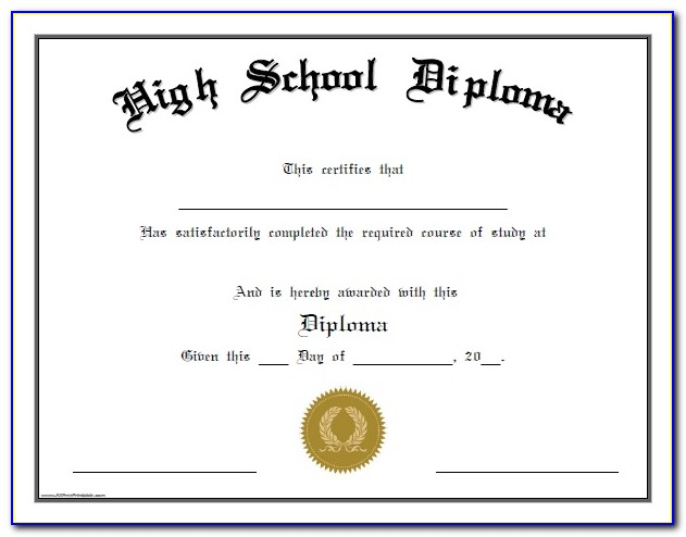 Homeschool High School Diploma Template With Seal