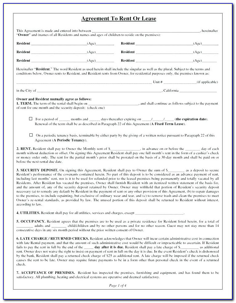 House Rental Lease Agreement Form Ohio
