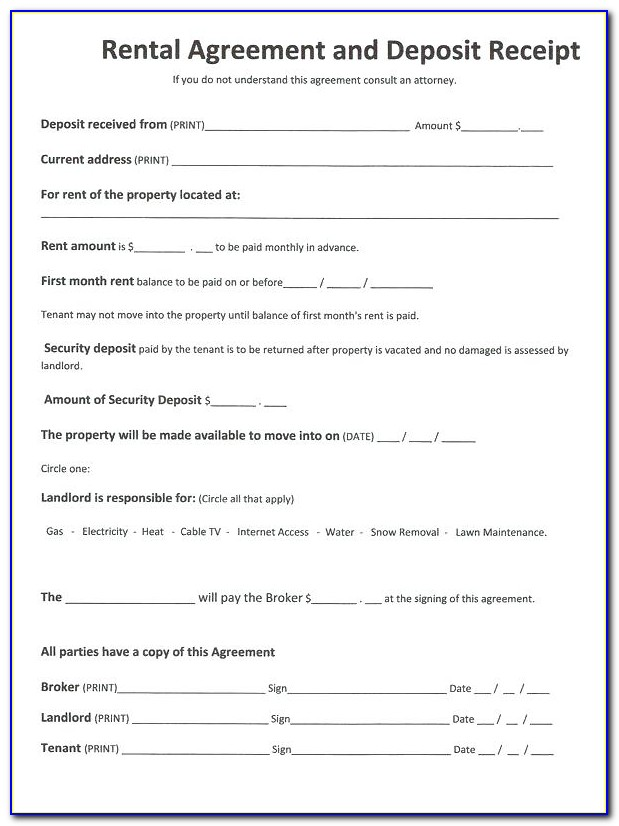 House Rental Lease Agreement Form Pdf