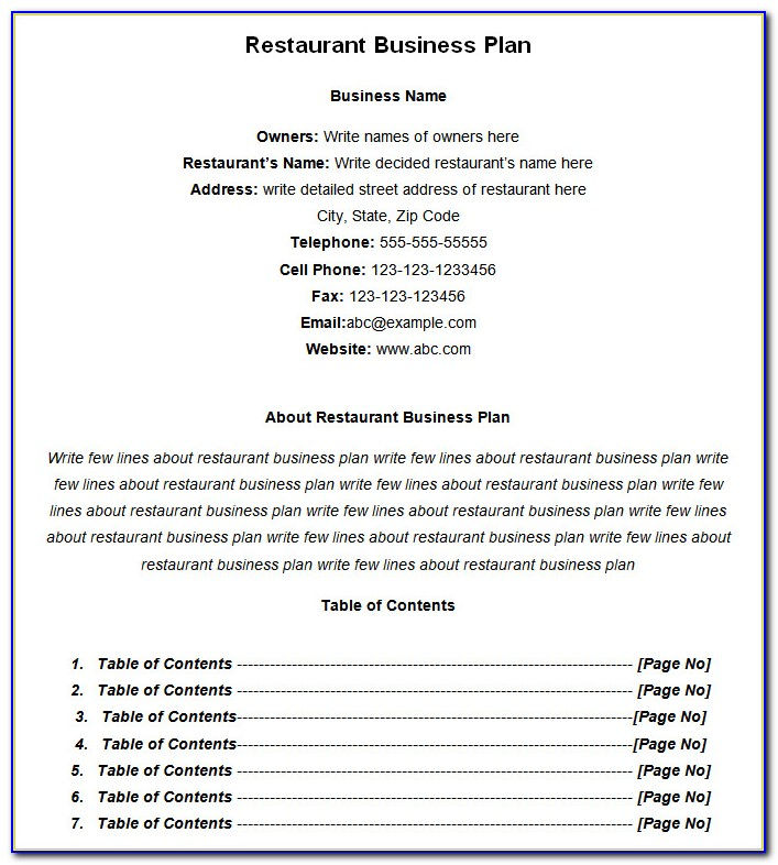 Indian Restaurant Business Plan Sample Pdf