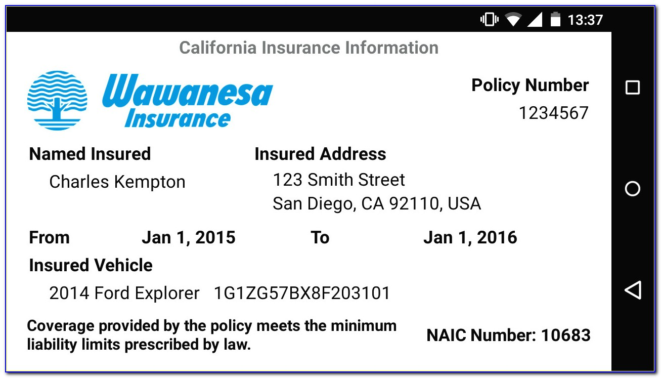Insurance Card Template Texas