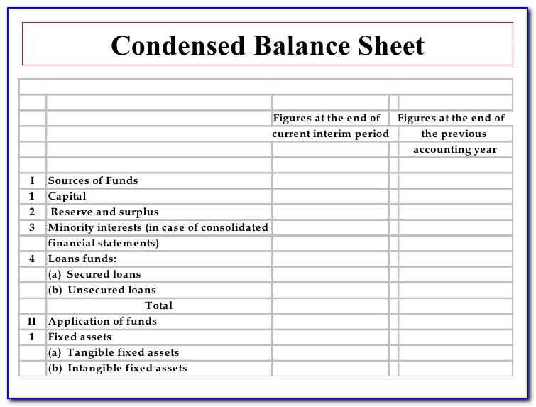 Interim Business Balance Sheet Template