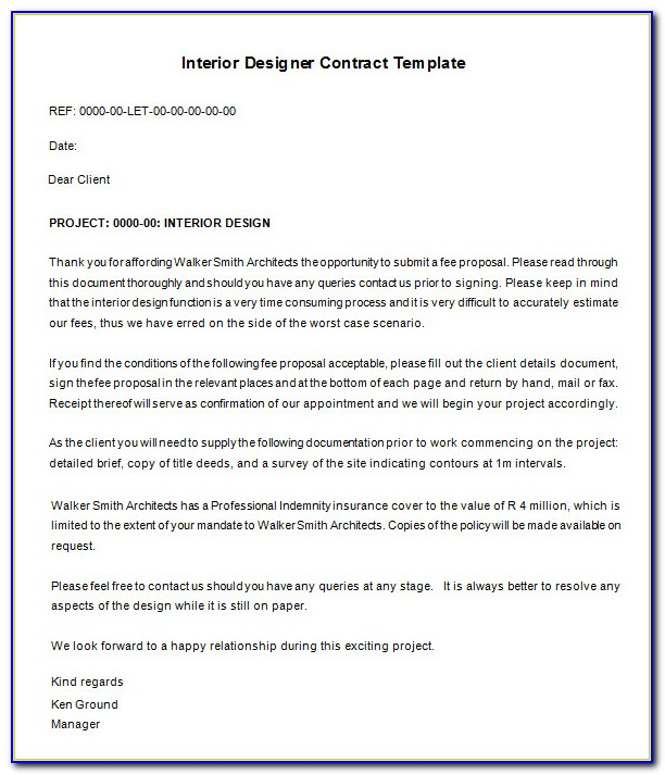 Interior Design Proposal Letter Template