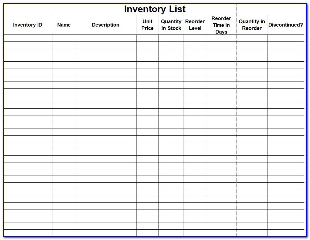 Inventory Control Template With Count Sheet For Excel Free Download