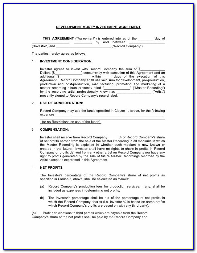Investor Agreement Template Word Free