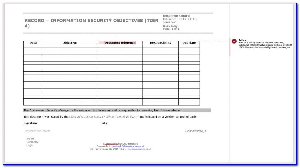Iso 27001 Policy Templates Free Download