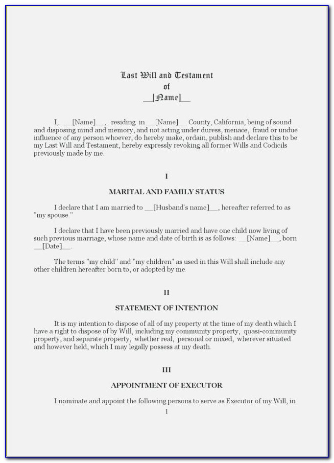Last Will And Testament Free Template Nc