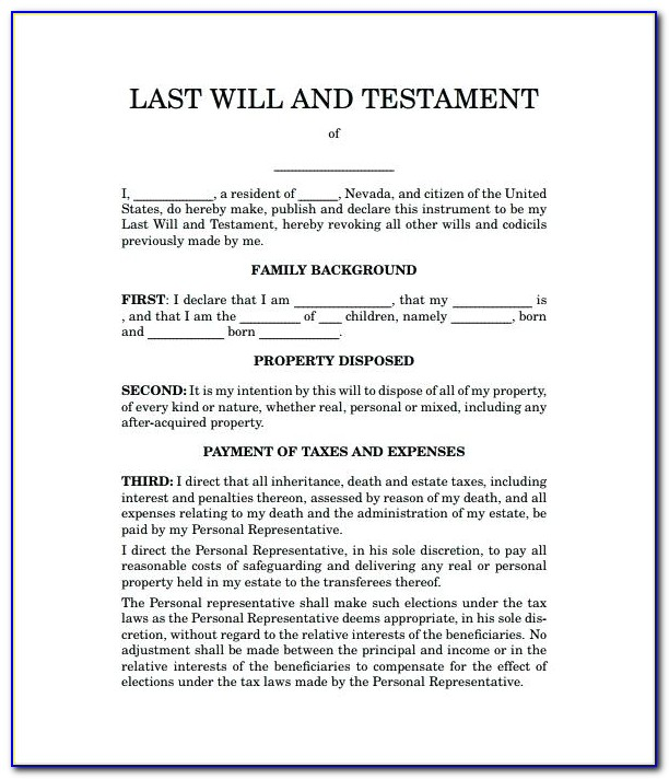 Last Will And Testament Free Template Washington State