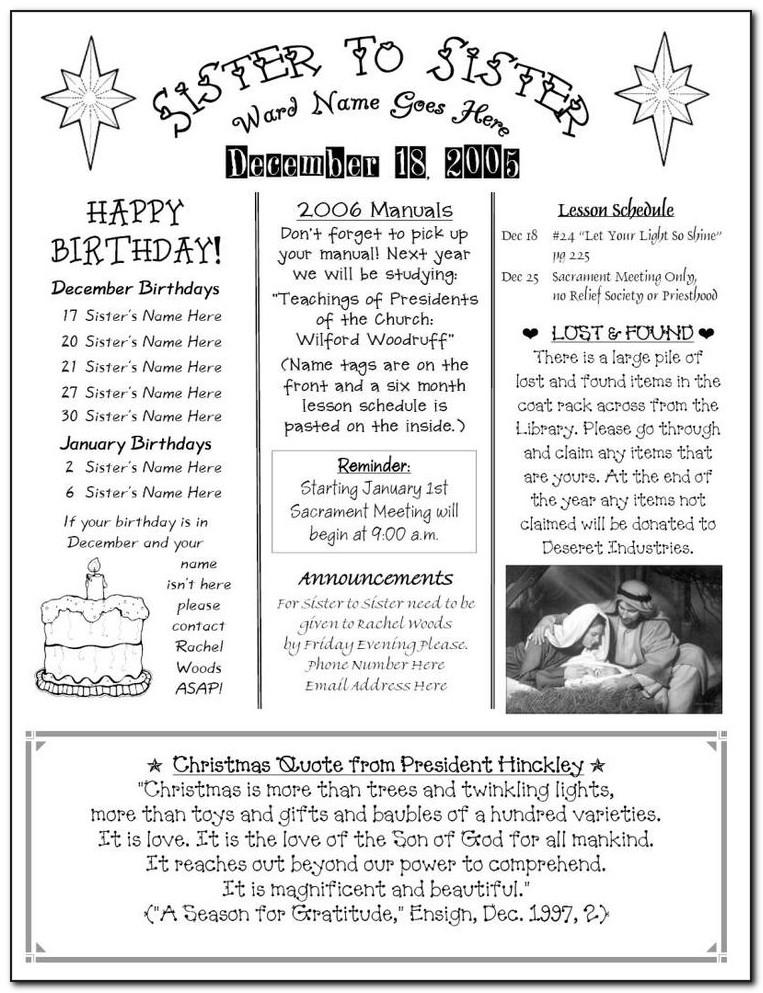 Lds Relief Society Newsletter Template