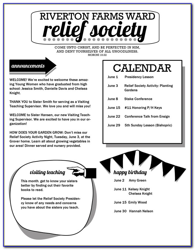Lds Relief Society Newsletter Templates