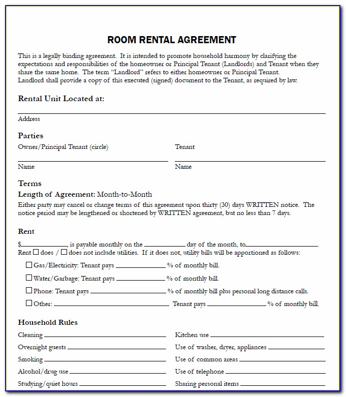 Lease Agreement For Renting A Room In My House Template