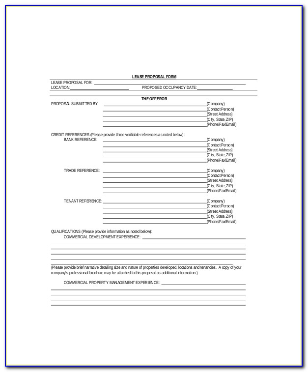 Lease Proposal Template Pdf