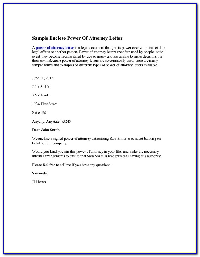 Letter Of Power Of Attorney Example