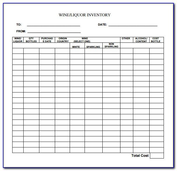Liquor Inventory Templates Free