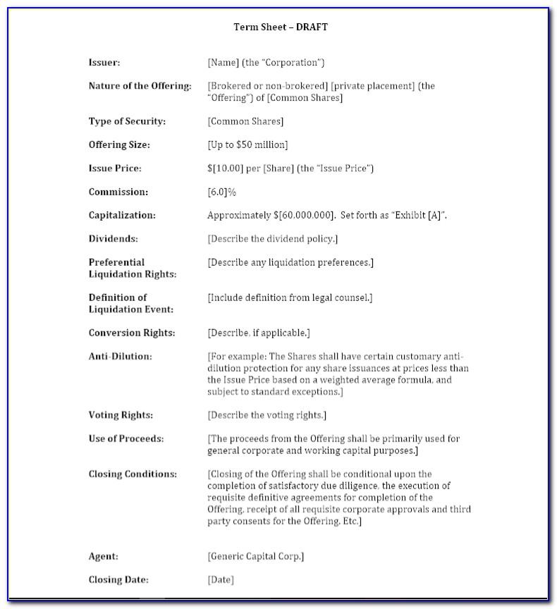 M&a Term Sheet Template