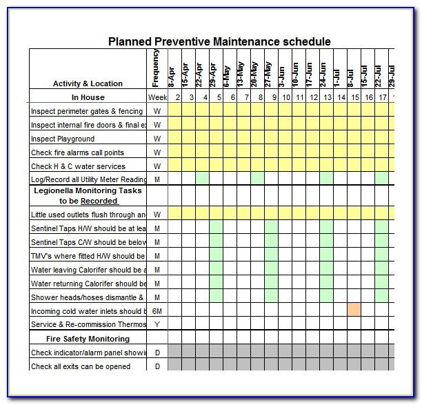 Maintenance Plan Template Excel