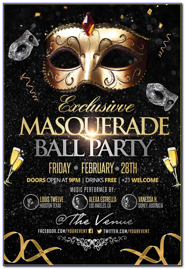 Masquerade Ball Poster Template Free