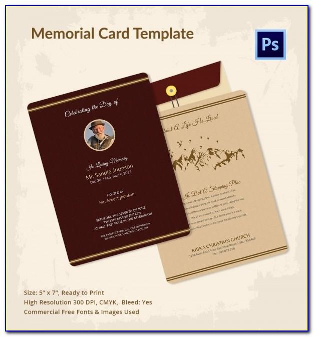 Memorial Card Template Photoshop