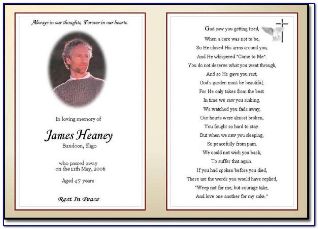 Memorial Card Template Psd