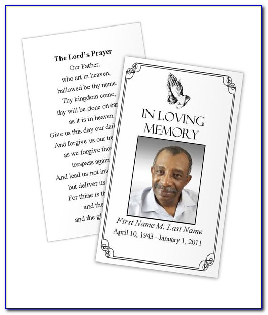 Memorial Prayer Cards Template