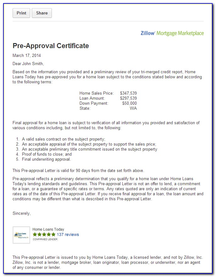 Mortgage Loan Approval Letter Template