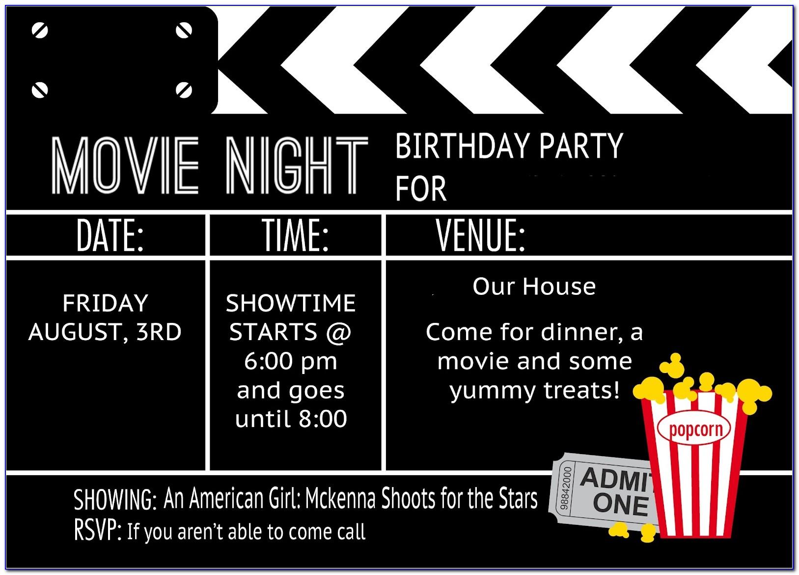 Movie Themed Invitations Templates